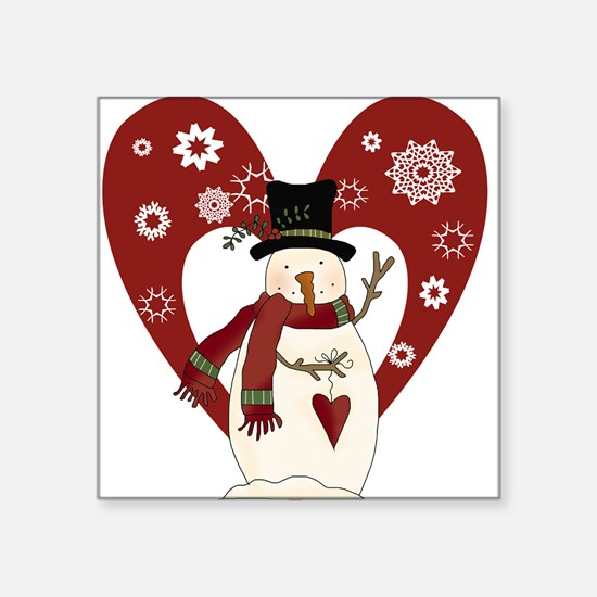 """snowmanheartsnow.png Square Sticker 3"""" x 3"""""""