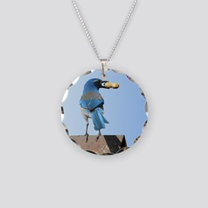 Cute Bluebird with Peanut Necklace Circle Charm