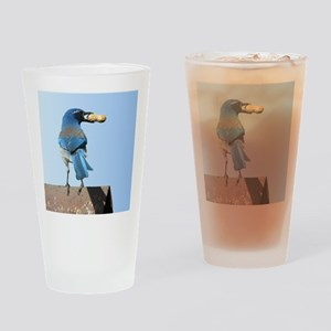 Cute Bluebird with Peanut Drinking Glass