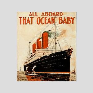 Vintage Ocean Liner Throw Blanket