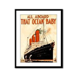 Vintage Ocean Liner Framed Panel Print