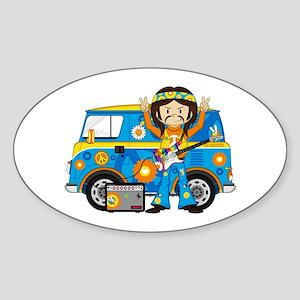 Hippie Boy and Camper Van Sticker