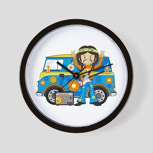 Hippie Boy and Camper Van Wall Clock