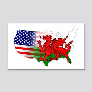 American Welsh Map Rectangle Car Magnet