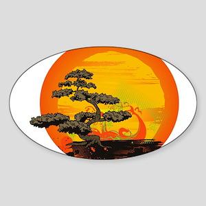 Sunset Bonsai Sticker (Oval)