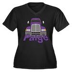Trucker Paige Women's Plus Size V-Neck Dark T-Shir
