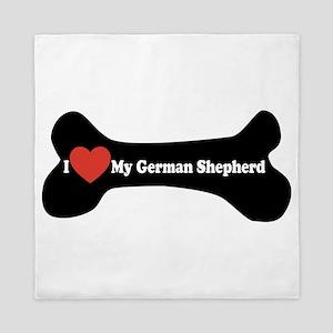 I Love My German Shepherd - Dog Bone Queen Duvet