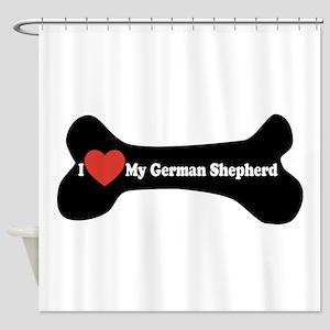 I Love My German Shepherd - Dog Bone Shower Curtai