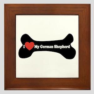 I Love My German Shepherd - Dog Bone Framed Tile