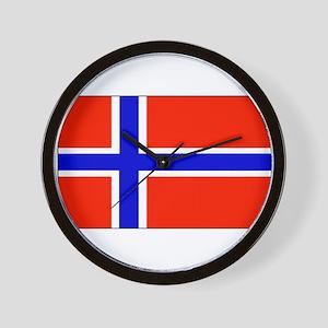 Norway Norwegian Blank Flag Wall Clock