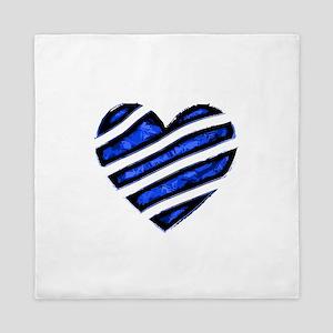 Blue stripes Heart Queen Duvet
