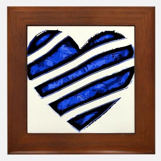 Blue stripes Heart Framed Tile