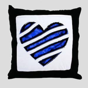 Blue stripes Heart Throw Pillow