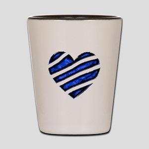 Blue stripes Heart Shot Glass