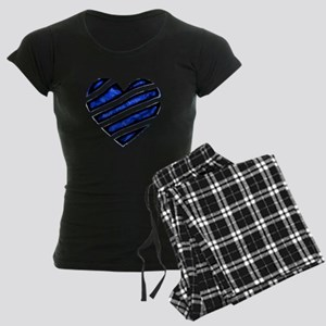 Blue stripes Heart Women's Dark Pajamas