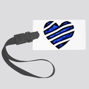 Blue stripes Heart Large Luggage Tag