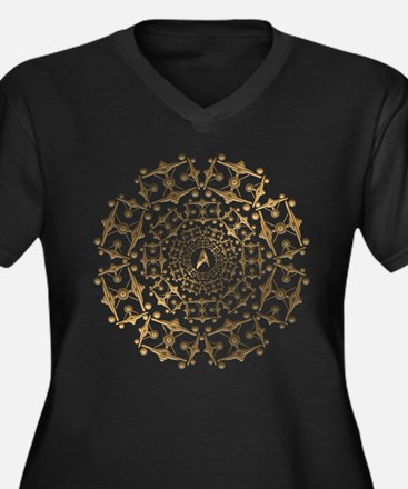 Gold Enterprise Art Women's Plus Size V-Neck Dark