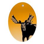 Sunset Moose Oval Ornament