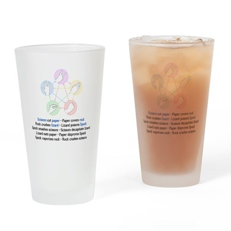 Rock Paper Scissors Lizard Spock Drinking Glass