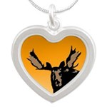 Sunset Moose Silver Heart Necklace