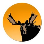 Sunset Moose Round Car Magnet