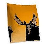 Sunset Moose Burlap Throw Pillow
