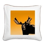 Sunset Moose Square Canvas Pillow