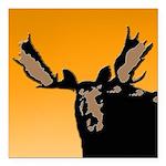 Sunset Moose Square Car Magnet 3