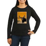 Sunset Moose Women's Long Sleeve Dark T-Shirt