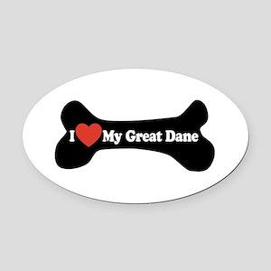 I Love My Great Dane - Dog Bone Oval Car Magnet