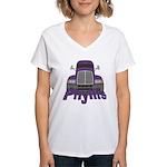 Trucker Phyllis Women's V-Neck T-Shirt