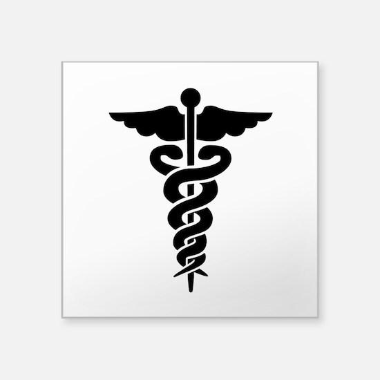 "Medical Symbol Caduceus Square Sticker 3"" x 3"