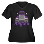 Trucker Regina Women's Plus Size V-Neck Dark T-Shi