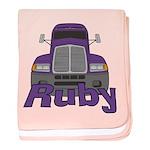 Trucker Ruby baby blanket