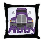 Trucker Ruby Throw Pillow