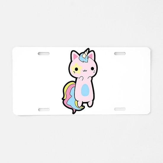 Unicorn Cat Aluminum License Plate