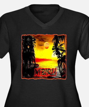 nibiru Women's Plus Size V-Neck Dark T-Shirt