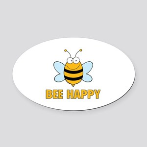 Bee Happy Oval Car Magnet