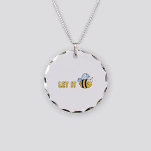 Let It Bee Necklace Circle Charm