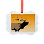 Sunset Bugling Elk Picture Ornament