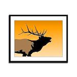 Sunset Bugling Elk Framed Panel Print