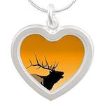 Sunset Bugling Elk Silver Heart Necklace