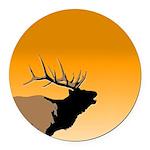 Sunset Bugling Elk Round Car Magnet