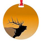 Sunset Bugling Elk Round Ornament