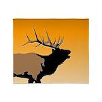 Sunset Bugling Elk Throw Blanket