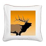 Sunset Bugling Elk Square Canvas Pillow