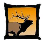 Sunset Bugling Elk Throw Pillow