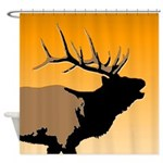 Sunset Bugling Elk Shower Curtain
