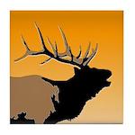 Sunset Bugling Elk Tile Coaster
