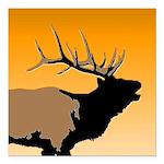 Sunset Bugling Elk Square Car Magnet 3